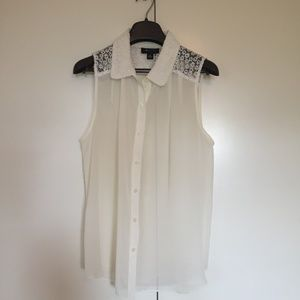 Sheer white button-down collared tank top